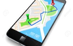 Mobile smartphone with gps travel map navigation app on a screen. 3d image